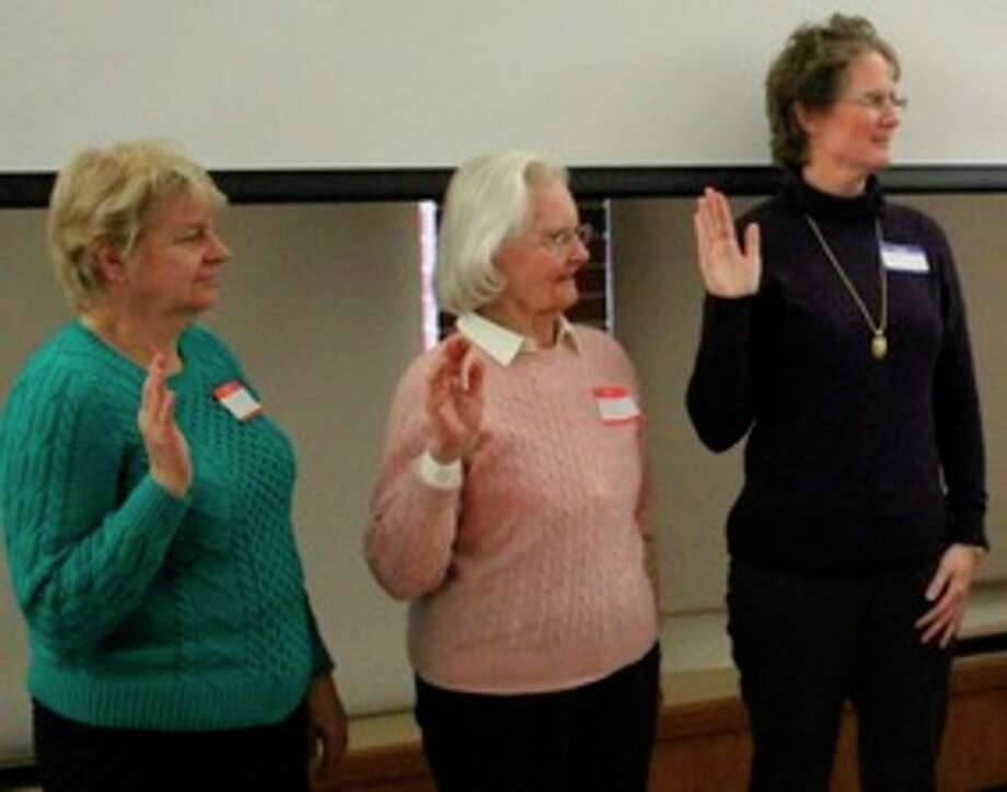 Three new members are inducted at the Jan. 6, 2017 meeting of the John Alden Chapter DAR. From left: Donna Oertel, Rosali Repucci and Nancy Pnacek.