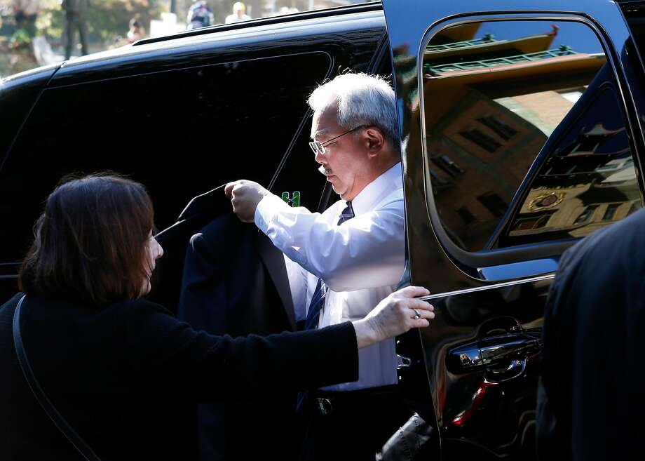 Mayor Ed Lee arrives to attend the funeral service for Chinatown community leader Rose Pak in September. Photo: Paul Chinn, The Chronicle