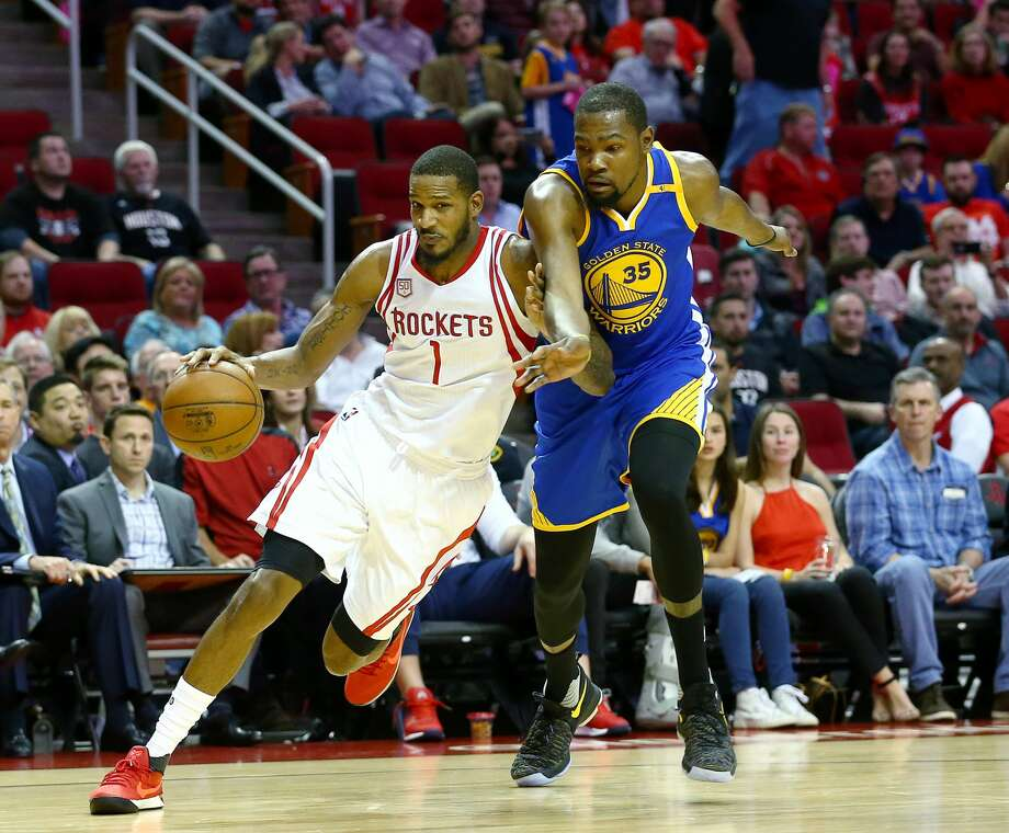 Trevor Ariza and the Rockets get their shot at the titleholder when Kevin Durant and the defending NBA champion Warriors come to town to begin the Western Conference final Monday at Toyota Center. Photo: Jon Shapley/Houston Chronicle