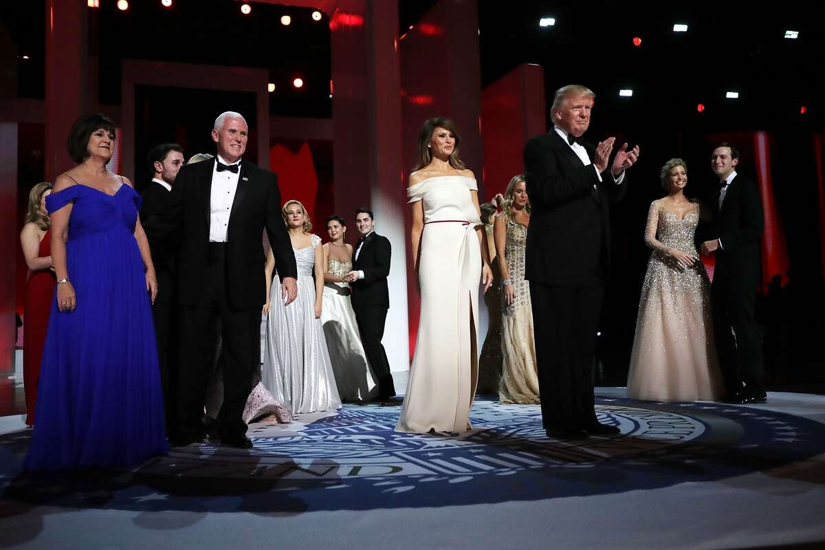 WASHINGTON, DC - JANUARY 20: U.S. President Donald Trump, first lady Melania Trump, U.S. Vice President Mike Pence, his wife Karen Pence, Ivanka Trump, her husband Jared Kushner and family members dance during the inaugural Liberty Ball at the Washington Convention Center January 20, 2017 in Washington, DC. The ball is part of the celebrations following the inauguration of Pence and U.S. President Donald J. Trump. (Photo by Chip Somodevilla/Getty Images)