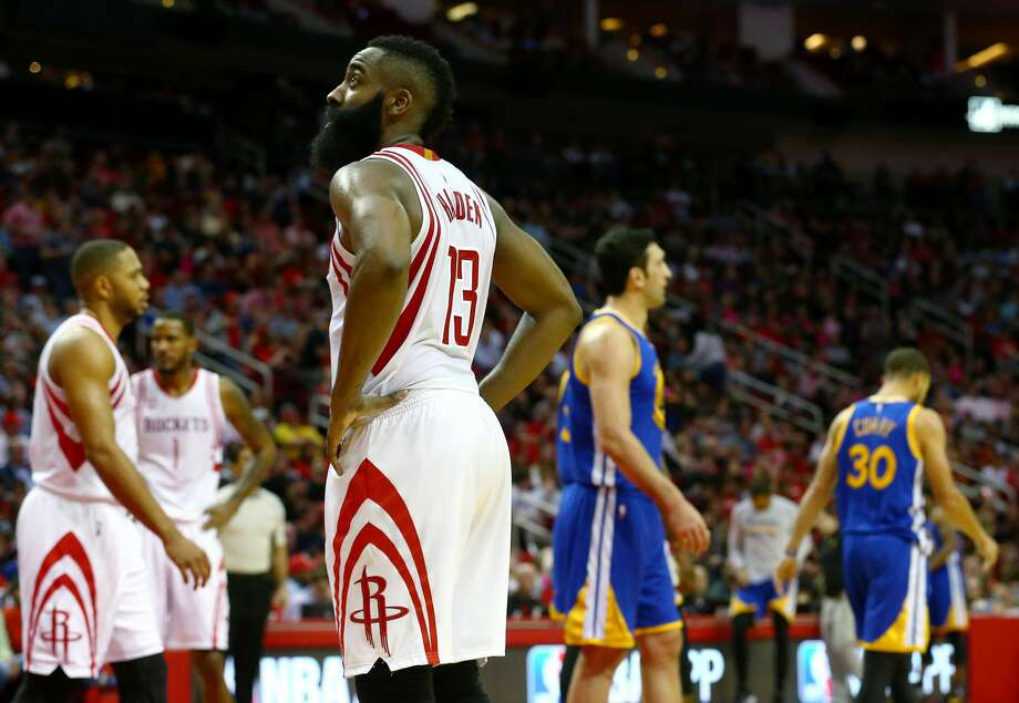 Houston Rockets guard James Harden (13) glances up at the scoreboard during the third quarter of an NBA game at the Toyota Center Friday, Jan. 20, 2017, in Houston. ( Jon Shapley / Houston Chronicle ) Photo: Jon Shapley/Houston Chronicle