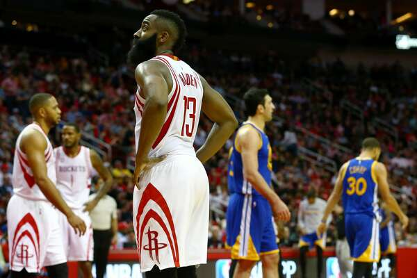 Houston Rockets guard James Harden (13) glances up at the scoreboard during the third quarter of an NBA game at the Toyota Center Friday, Jan. 20, 2017, in Houston. ( Jon Shapley / Houston Chronicle )