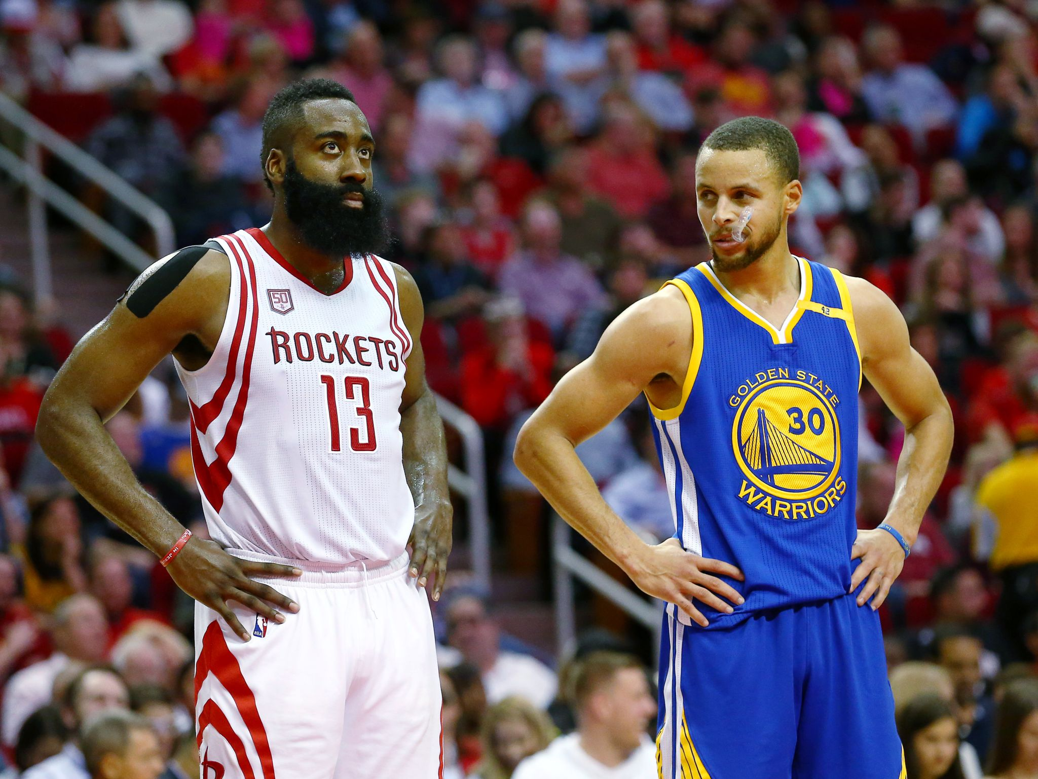 Warriors overpower Rockets with 3-point ... defense