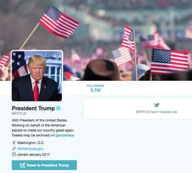 The new @POTUS Twitter account for President Donald Trump is shown in this frame grab, Friday, Jan. 20, 2017.   The technological transition came just as Trump took the oath Friday, giving him a clean digital slate. The White House's official Twitter and Facebook accounts were quickly scrubbed and rebranded. It's the first time social media accounts have been a part of the transition.   (AP Photo) ORG XMIT: WX709