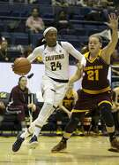 California�s Courtney Range (24) drives past Arizona State�s Sophie Brunner (21) during the first quarter of an NCAA women's college basketball game, on Friday, Jan. 20, 2017 in Berkeley, Calif.