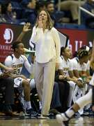 California head coach Lindsay Gottlieb shouts instructions to her players during the first quarter of an NCAA women's college basketball game against Arizona State, on Friday, Jan. 20, 2017 in Berkeley, Calif.