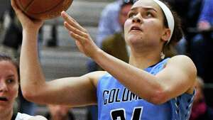 Columbia's #24 Selena Lott in action during Friday night's game against Shen Jan. 20, 2017 in Clifton Park, NY.  (John Carl D'Annibale / Times Union)