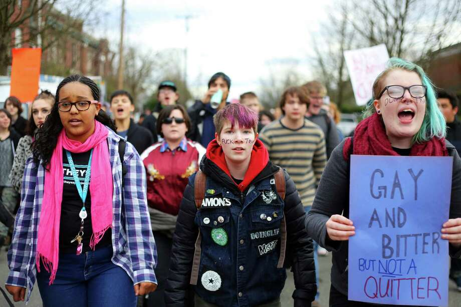 Students from Garfield and Nova high schools participate in a walk out and march in response to President Donald Trump's inauguration on Friday, Jan. 20, 2017. Photo: GENNA MARTIN, SEATTLEPI.COM / SEATTLEPI.COM