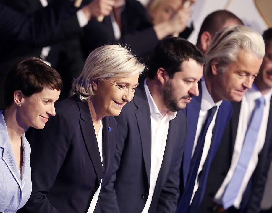 AfD (Alternative for Germany) chairwoman Frauke Petry, Far-right leader and candidate for next spring presidential elections Marine le Pen from France, Italian Lega Nord chief Matteo Salvini and Dutch populist anti-Islam lawmaker Geert Wilders , from left, stand together in the beginning of a meeting of European Nationalists in Koblenz, Germany, Saturday, Jan. 21, 2017. (AP Photo/Michael Probst) Photo: Michael Probst, Associated Press