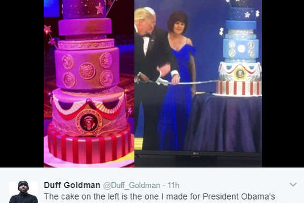 Cake Master Duff Goldman was less than happy to realize Trump's inauguration cake was almost an exact replica of his cake for Obama's inauguration four years earlier.  >>KEEP CLICKING TO SEE THE BEST MEMES THAT CAME FROM MOMENTS AND BLUNDERS AT TRUMP'S INAUGURATION.  Photo: Duff Goldman Twitter