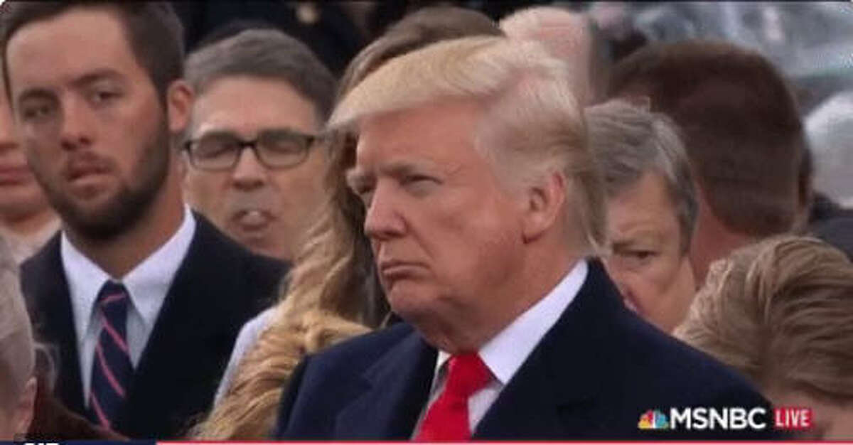 Bubbles, tiny bubbles Former Texas Gov. Rick Perry (in glasses) was captured by MSNBC chewing gum and blowing bubbles during a rabbi's benediction during Donald Trump's Jan. 20, 2017, inauguration.