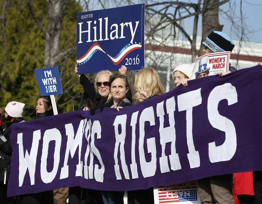 Hillary Clinton supporters gather with tens of thousands of other participants in Madison Park before the Women's March, which was peaceful and powerful. Photo: Paul Chinn, The Chronicle