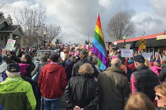People attend the Women's March in Napa on January 21, 2017, the day after President Donald Trump took office in Washington, D.C.