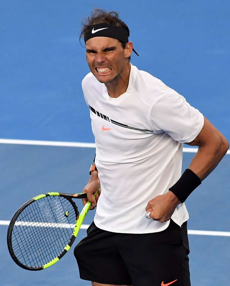 Rafael Nadal celebrates his victory over Russina teeanger Alexander Zverev on Saturday. Photo: SAEED KHAN, AFP/Getty Images