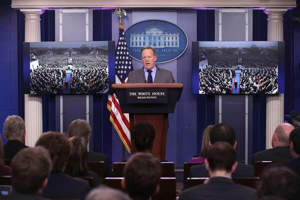WASHINGTON, DC - JANUARY 21:  White House Press Secretary Sean Spicer makes a statement to members of the media at the James Brady Press Briefing Room of the White House January 21, 2017 in Washington, DC. This was Spicer's first press conference as Press Secretary where he spoke about the media's reporting on the inauguration's crowd size.  (Photo by Alex Wong/Getty Images)