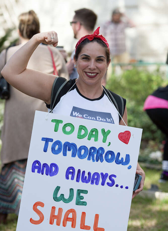 About 1,500 San Antonio women joined the millions across U.S. to protest President Donald Trump on Saturday, Jan. 21, 2017. Photo: By B. Kay Richter, For MySA