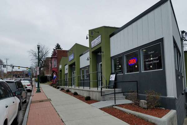 New storefronts along Congress Street in Troy's Mt. Ida neighborhood. The stores are at the site of the old Thornie's diner. (Chris Churchill / Times Union)