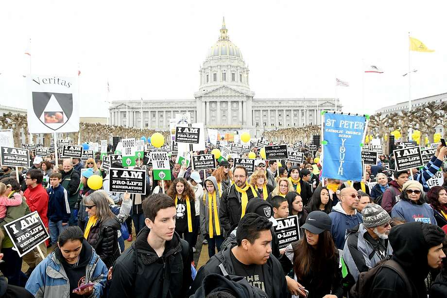 Thousands of antiabortion ife demonstrators march from City Hall during the start of the 13th annual Walk for Life West Coast in San Francisco. Photo: Noah Berger, Special To The Chronicle