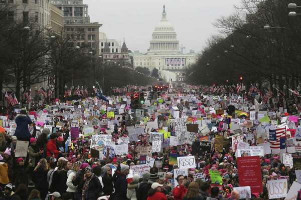 Hundreds of thousands of women — along with some of their male partners and supporters — thronged the nation's capital for a five-hour rally and march.