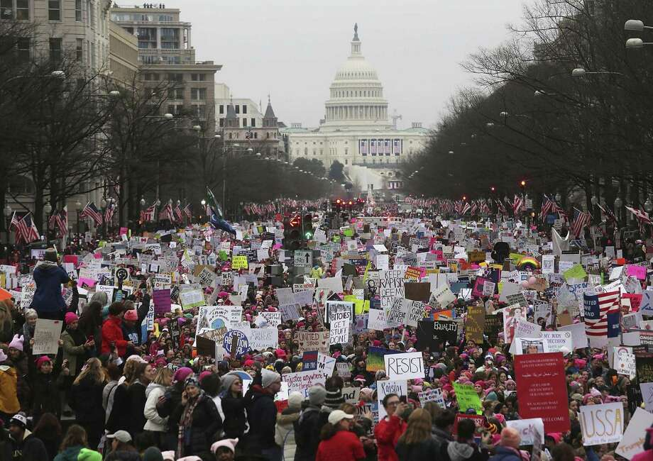 Hundreds of thousands of women — along with some of their male partners and supporters — throng the nation's capital for a five-hour rally and march. Photo: Mario Tama / Mario Tama / Getty Images / 2017 Getty Images