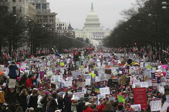 Hundreds of thousands of women — along with some of their male partners and supporters — throng the nation's capital for a five-hour rally and march.