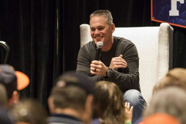 Major League Baseball Hall of Famer and Astros great Craig Biggio shares a laugh with crowd at the fan forum during Astros Fan Fest at Minute Maid Park on Saturday, Jan. 21, 2017, in Houston. ( Joe Buvid / For the Chronicle )
