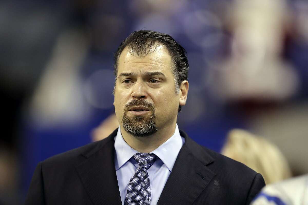 FILE- In this Dec. 11, 2016, file photo, Indianapolis Colts general manager Ryan Grigson watches before the start of an NFL football game between the Colts and the Houston Texans in Indianapolis. The Colts fired Grigson on Saturday, Jan. 21, 2017. (AP Photo/Darron Cummings)