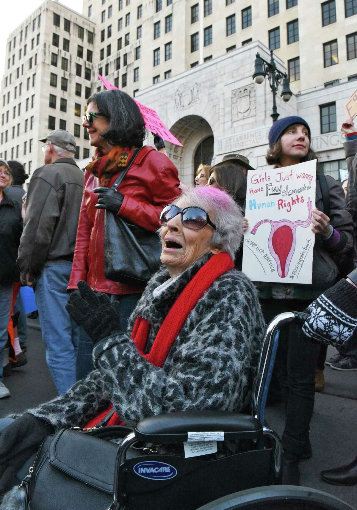 Angis Urbano, 92, of Menands joins Resistance Day of Action demonstrators as they rally on the lawn of the Capitol Saturday Jan. 21, 2017 in Albany, NY. (John Carl D'Annibale / Times Union)