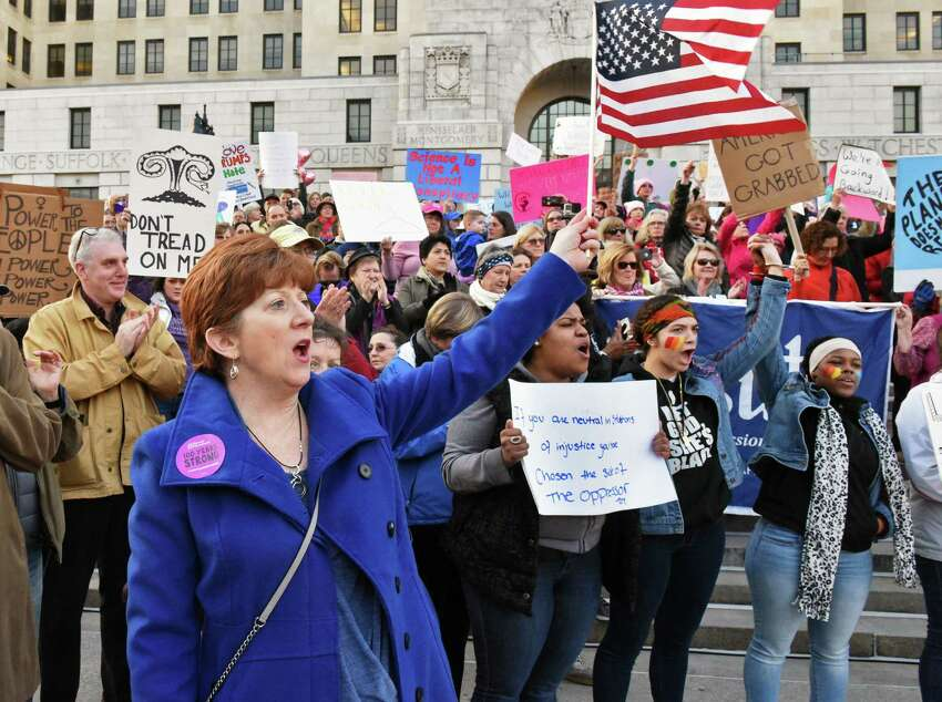 Mayor Kathy Sheehan joins Resistance Day of Action demonstrators as they rally on the lawn of the Capitol Saturday Jan. 21, 2017 in Albany, NY. (John Carl D'Annibale / Times Union)