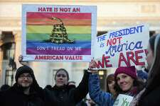 Protesters opposed to the incoming administration of Donald Trump marched in Albany, N.Y. on January 21, 2017. The march was one of many sister marches in support of the Women's March on Washington, which took place earlier that day. (Robert Downen/Times Union)
