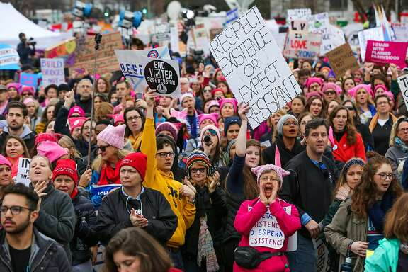 The crowd is seen at a rally ahead of the women's march in Washington, D.C., on Saturday, Jan. 21, 2017.
