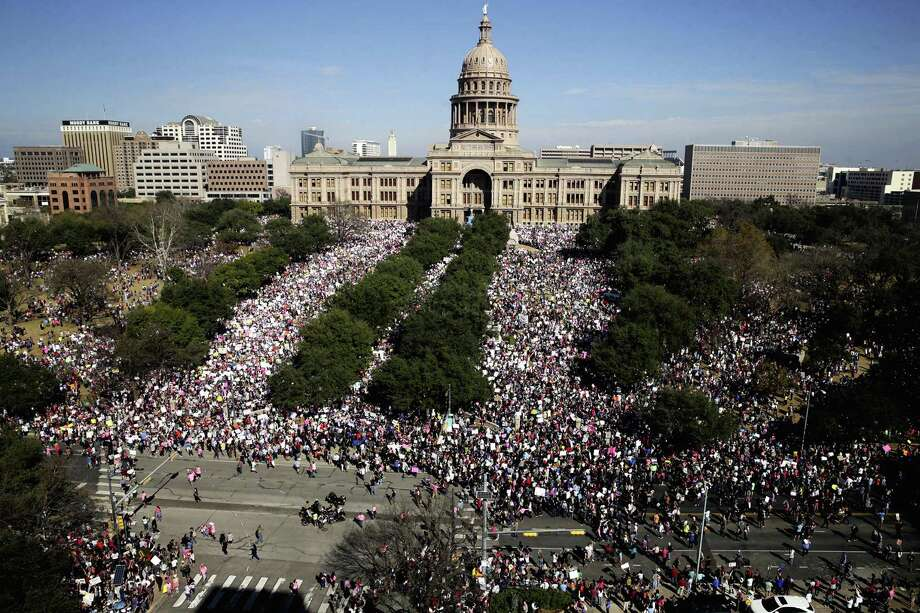 Demonstators march on Congress Avenue in Austin during the Women's March on Austin on January, 21, 2017. Photo: Tom Reel, Staff / San Antonio Express-News / 2017 SAN ANTONIO EXPRESS-NEWS