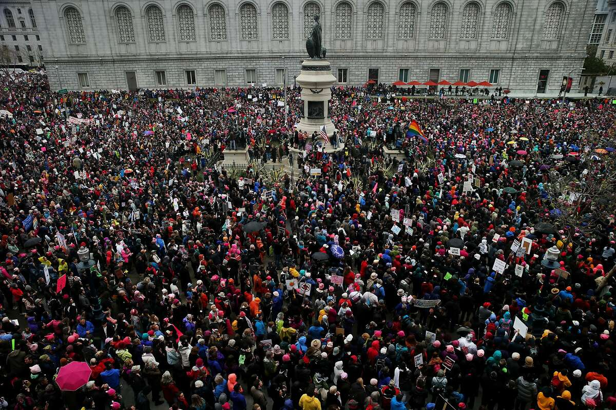 Demonstrators rally during the Women's March on Saturday, Jan. 21, 2017 in San Francisco, Calif. Thousands rallied to raise awareness of women's rights at the United Nations Plaza. Demonstrators then marched along Market Street to the Justin Herman Plaza.