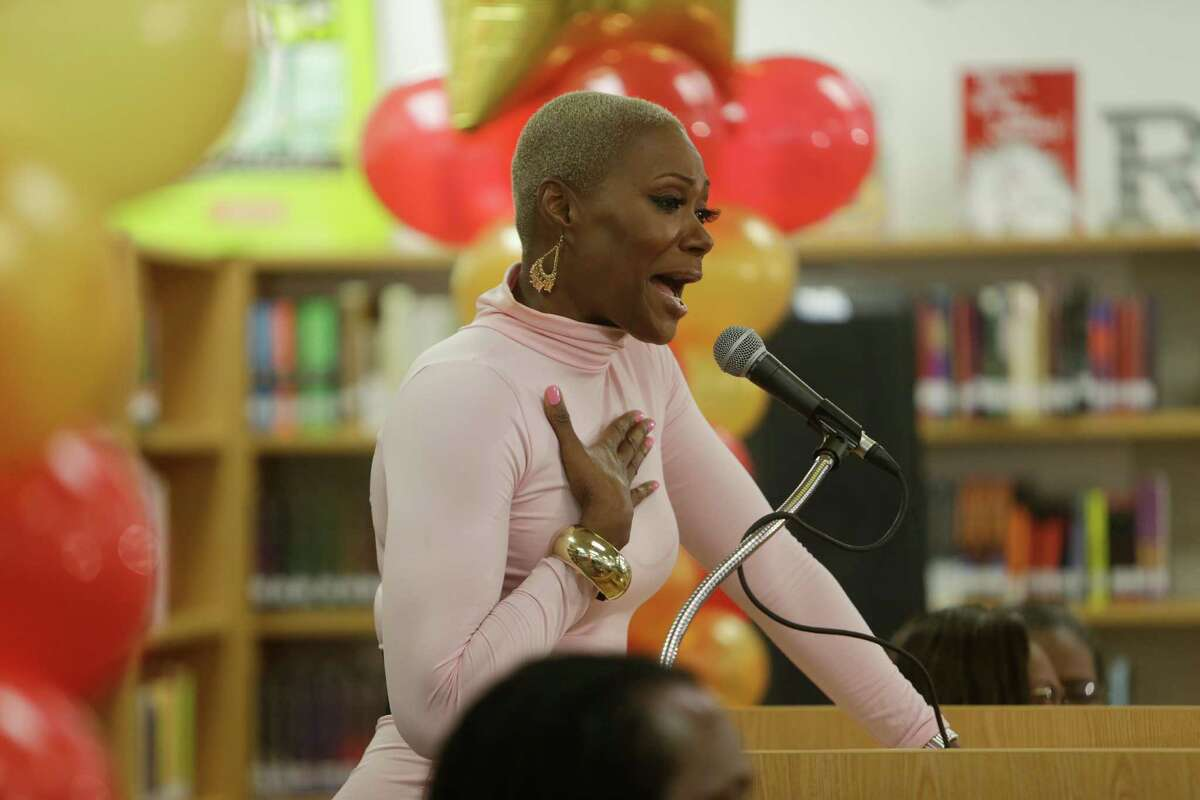 HISD trustee Jolanda Jones talks about her formative experiences reading books at the Texas Southern University library during a rededication of the library at Yates High School, Wednesday, Jan. 18, 2017, in Houston.