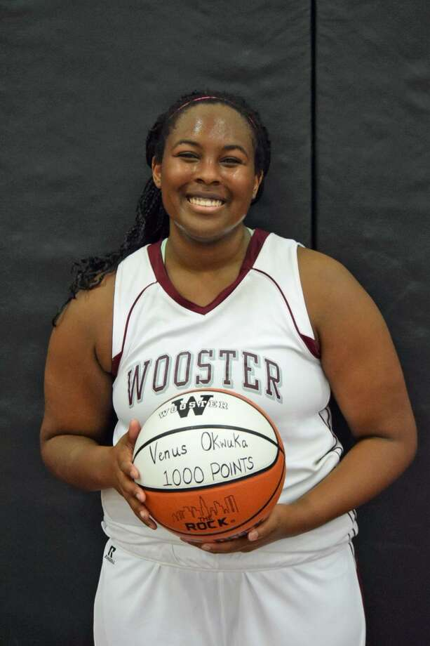 Wooster School girls basketball player Venus Okwuka scored her 1,000th career point Wednesday night in a 42-30 victory over Gunnery School. Okwuka finished with 22 points and needed eight to reach the milestone.January 20, 2016 Photo: Contributed Photo / Contributed Photo / Stamford Advocate Contributed