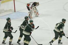 Anaheim Ducks' goalie John Gibson looks down after the Minnesota Wild scored their first goal in the first period of an NHL hockey game Saturday, Jan. 21, 2017, in St. Paul, Minn. (AP Photo/Stacy Bengs)