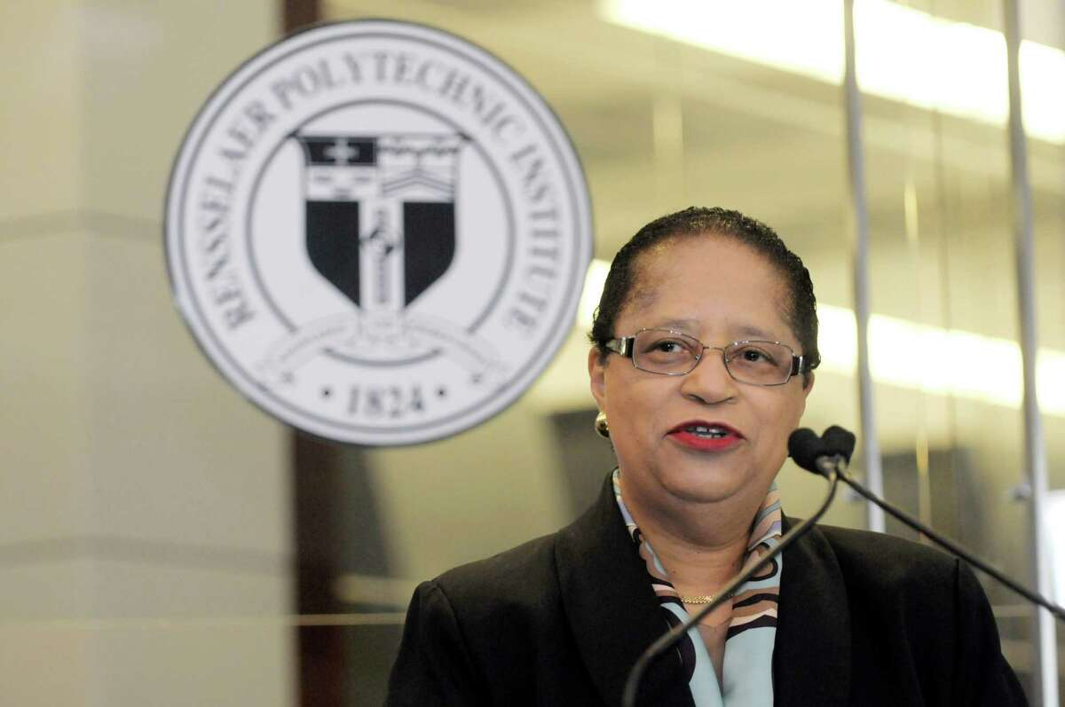 RPI president, Shirley Ann Jackson addresses those gathered for an event at the Computational Center for Nanotechnology Innovations (CCNI), RPI's supercomputing center on Tuesday, May 14, 2013 in North Greenbush, NY. RPI announced at the event that they were awarded through NYSERDA, 1.8 million to boot the efficiency of the supercomputing center. (Paul Buckowski / Times Union)