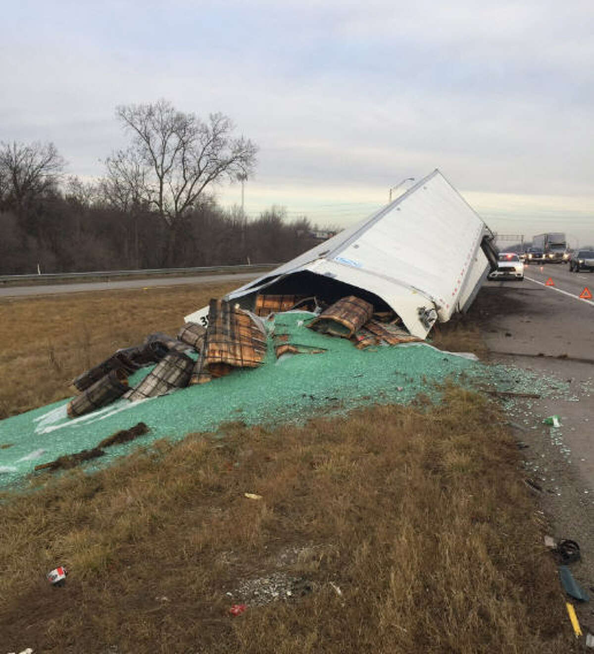 Indiana State Police spokesman Sgt. John Perrine posted a photo of a massive marble spill Saturday.
