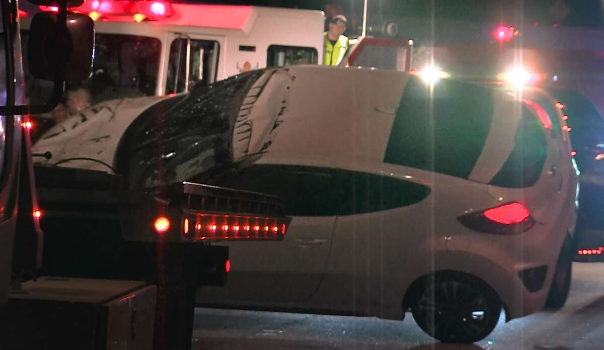 San Antonio police say a man suffered minor injuries after a rollover crash on Interstate 10 near Vance Jackson Road around 2:15 a.m., Sunday, Jan. 22, 2017.