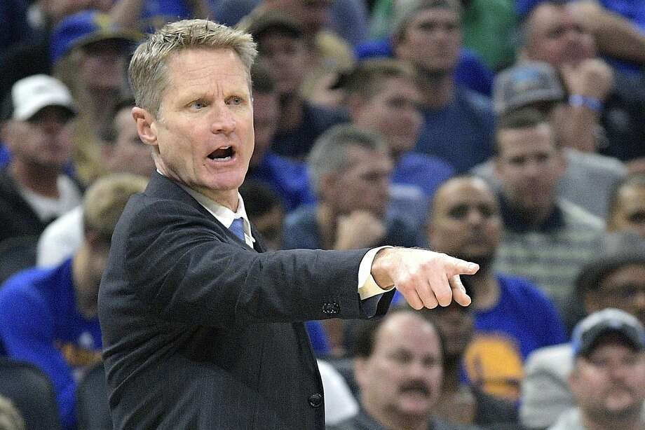 Golden State Warriors head coach Steve Kerr calls out instructions during the first half of an NBA basketball game against the Orlando Magic in Orlando, Fla., Sunday, Jan. 22, 2017. (AP Photo/Phelan M. Ebenhack) Photo: Phelan M. Ebenhack, Associated Press
