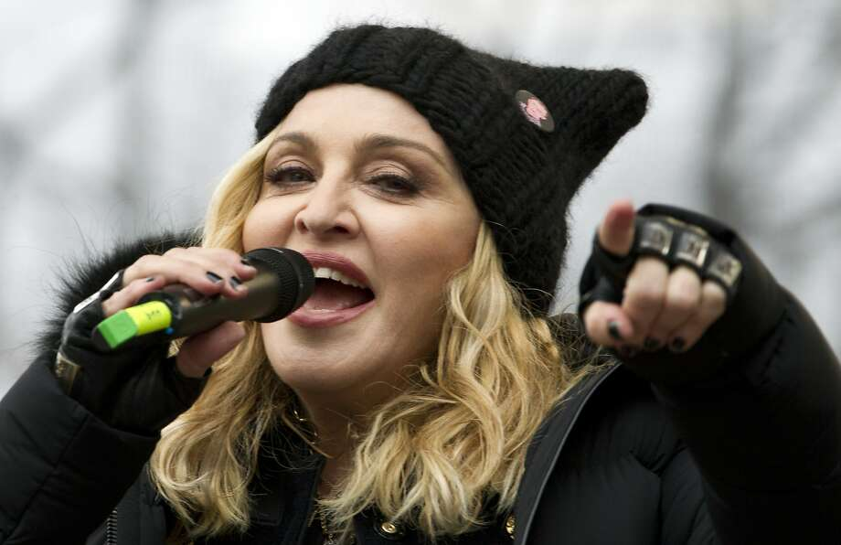 Madonna performs on stage during the Women's March rally, Saturday, Jan. 21, 2017, in Washington. Madonna, Julia Roberts, Scarlett Johansson, Cher, Alicia Keys, Katy Perry, Emma Watson, Amy Schumer, Jake Gyllenhaal and feminist leader Gloria Steinem were just some of those Hollywood A-list celebrities in attendance at the march in Washington. (AP Photo/Jose Luis Magana) Photo: Jose Luis Magana, Associated Press