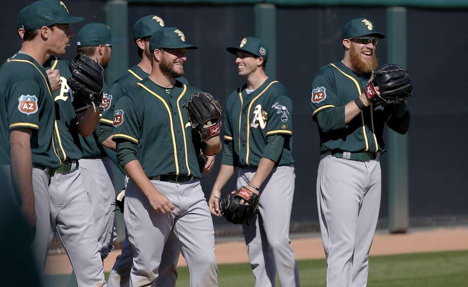 Gray pants might be the daily choice for the A's now that the cash-strapped team makes players launder their uniforms. Photo: Michael Macor, The Chronicle