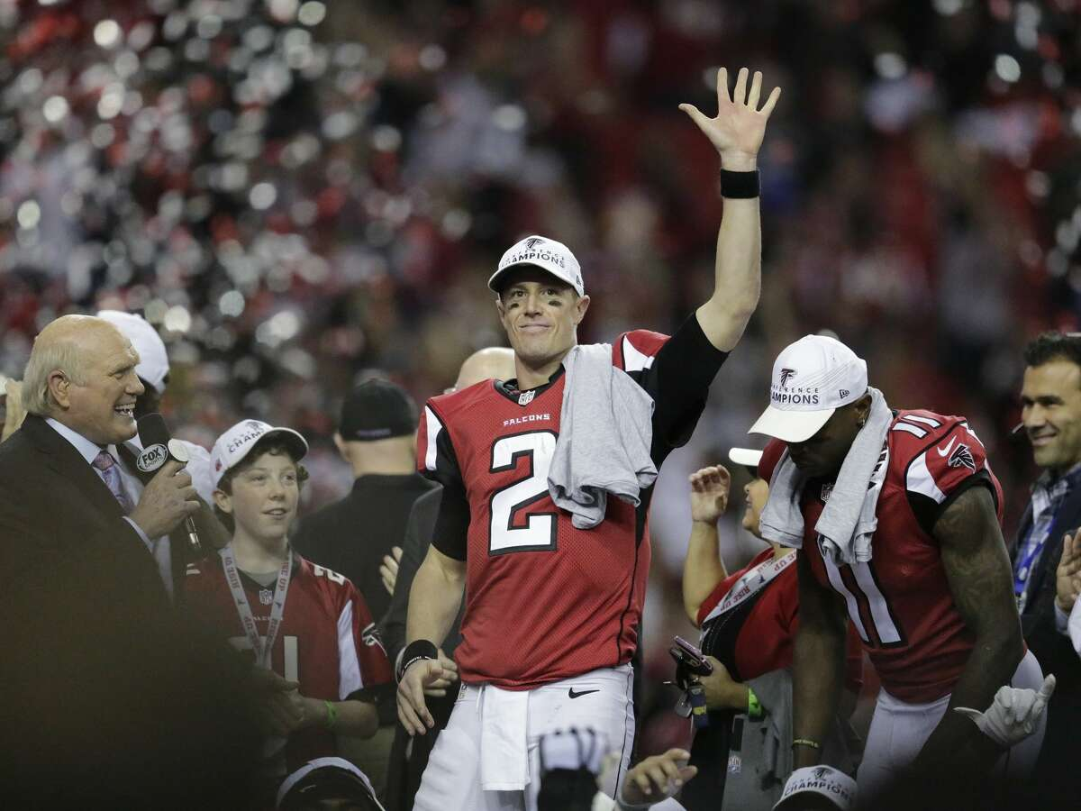 Atlanta Falcons' Matt Ryan celebrates after the NFL football NFC championship game against the Green Bay Packers Sunday, Jan. 22, 2017, in Atlanta. The Falcons won 44-21 to advance to Super Bowl LI. (AP Photo/David Goldman)