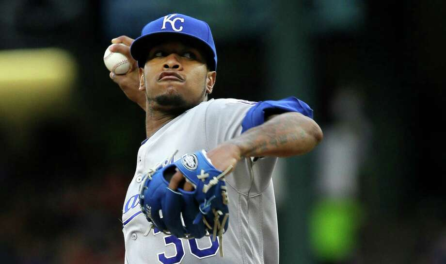 In this Thursday, July 28, 2016, file photo, Kansas City Royals starting pitcher Yordano Ventura throws during the first inning of a baseball game against the Texas Rangers in Arlington, Texas. Authorities in the Dominican Republic said Sunday, Jan. 22, 2017, that Ventura and former major leaguer Andy Marte both have died in separate traffic accidents. Photo: LM Otero, Associated Press / Copyright 2016 The Associated Press. All rights reserved. This material may not be published, broadcast, rewritten or redistribu