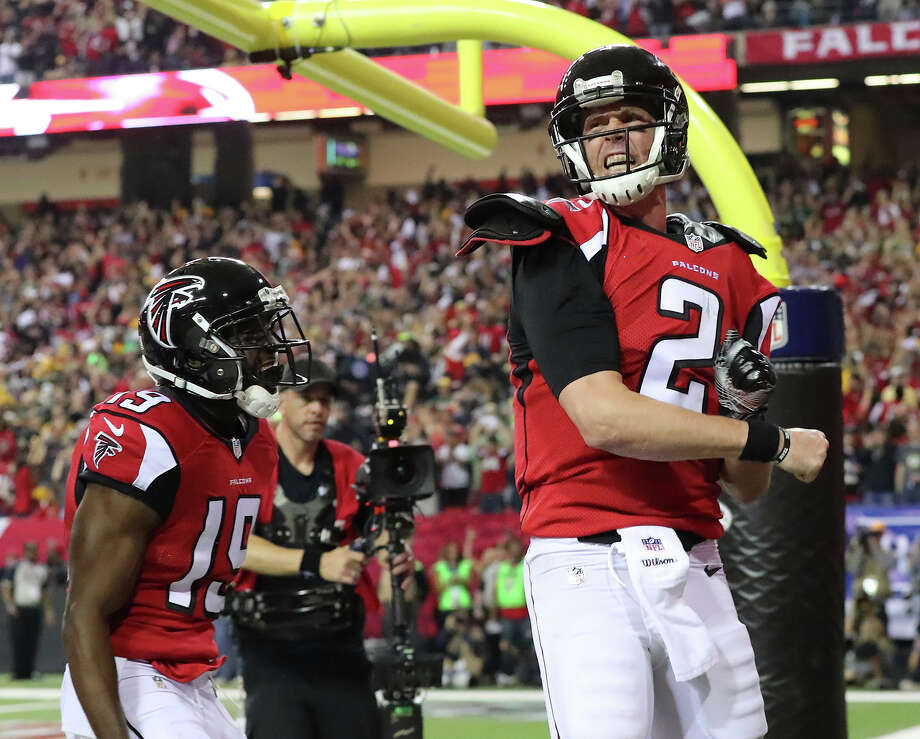 Atlanta Falcons quarterback Matt Ryan reacts to scoring a touchdown during the NFC championship game against the Green Bay Packers, Sunday in Atlanta. Photo: Curtis Compton, Associated Press / Atlanta Journal-Constitution