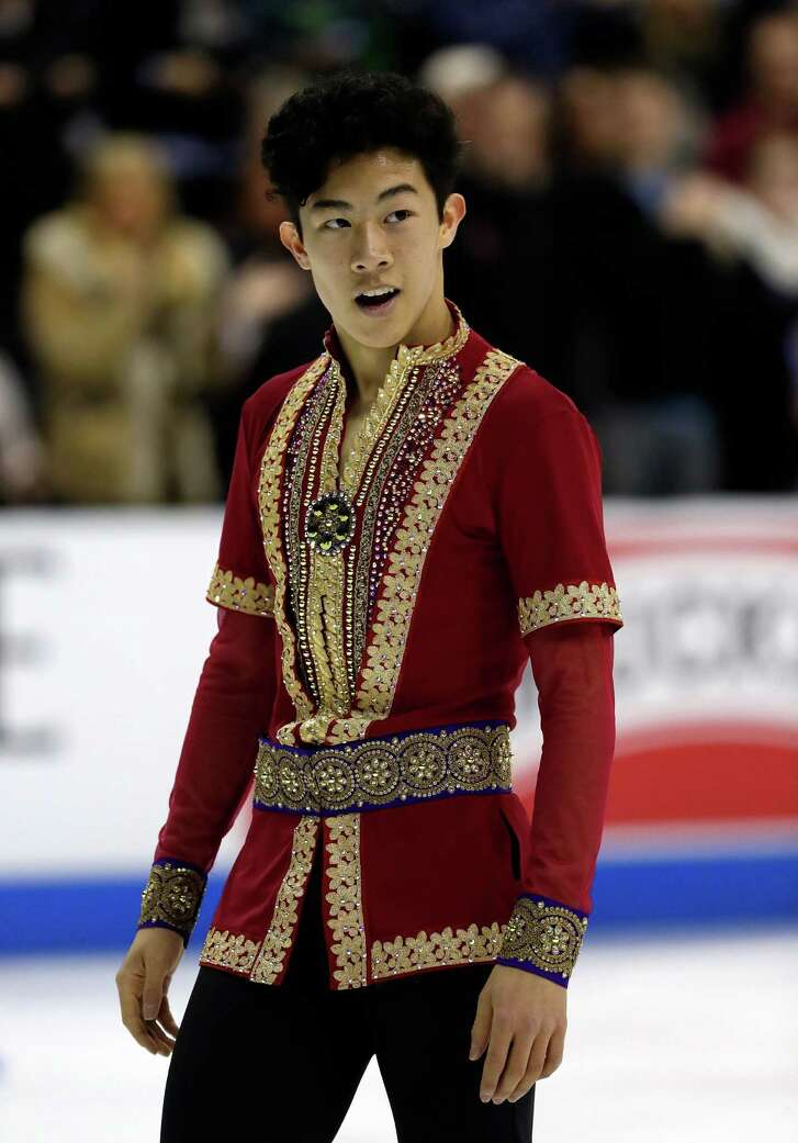 KANSAS CITY, MO - JANUARY 22:  Nathan Chen competes in the Men's Free Skate program during the 2017 U.S. Figure Skating Championships at the Sprint Center on January 22, 2017 in Kansas City, Missouri.  Chen placed first to win the gold medal and become the 2017 US Men's Figure Skating Champion.  (Photo by Jamie Squire/Getty Images)