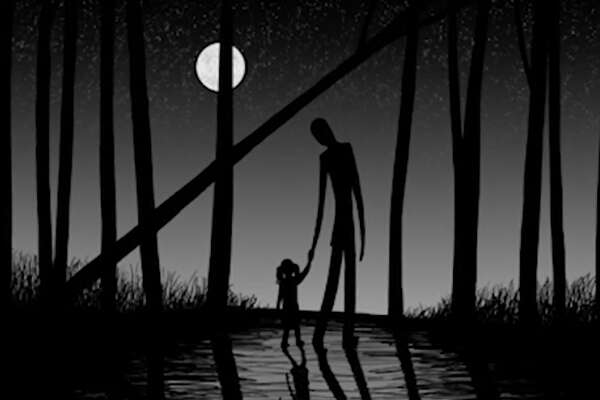 "This image released by HBO shows a drawing of the urban mythical character Slenderman holding a child's hand from the documentary, ""Beware the Slenderman,"" airing Monday at 10 p.m. EST on HBO. (HBO via AP) ORG XMIT: NYET420"