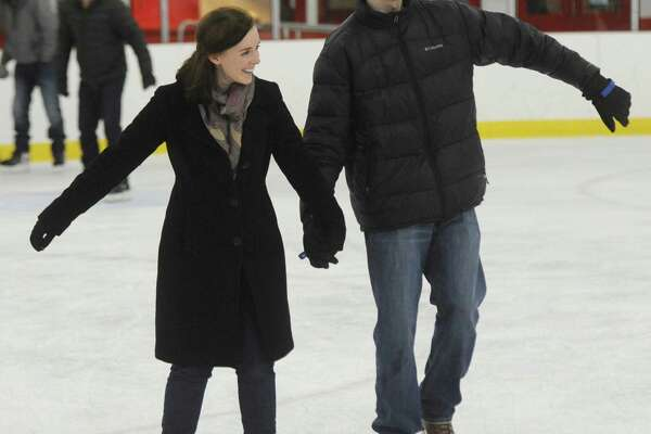 Ann Victor, of Greenwich, and Morgan Carter, of Stamford, hold hands while skating during the public skating session at Hamill Rink in the Byram section of Greenwich, Conn. Sunday, Jan. 22, 2017. Hamill Rink has public skating on the weekends from 2 p.m. to 4 p.m. as well as several different times throughout the week.