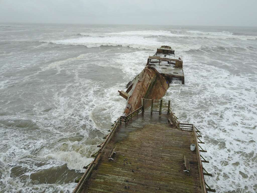 famed calif. 'cement ship' flipped, broken upstrong waves - sfgate