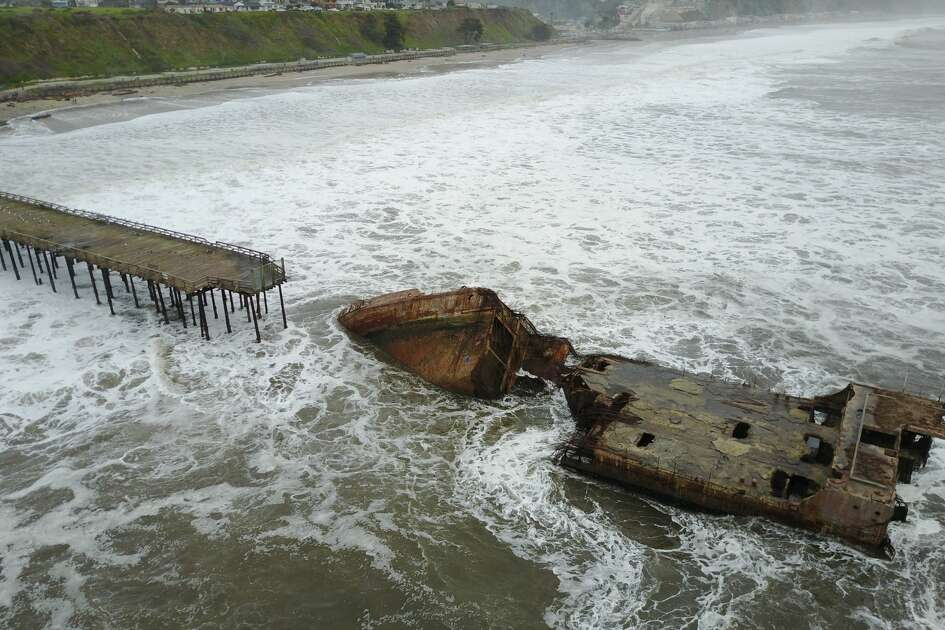 The S.S. Palo Alto, otherwise known as the 'Concrete Ship,' was tossed and broken up by high waves in the Monterey Bay on Saturday, Jan. 21, 2017.